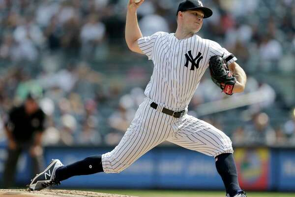 New York Yankees starting pitcher Sonny Gray throws during the second inning of a baseball game against the Baltimore Orioles at Yankee Stadium, Sunday, Sept. 17, 2017, in New York. (AP Photo/Seth Wenig) ORG XMIT: NYY101
