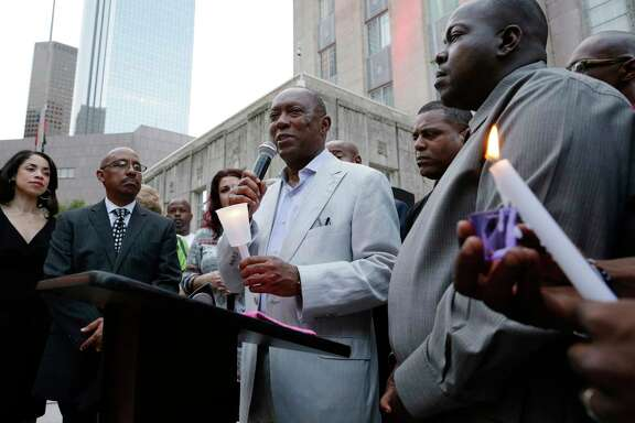 Mayor Sylvester Turner gives remarks during a candlelight ceremony in honor of the victims of hurricane Harvey, held on the steps of City Hall in Houston, TX, Sept. 17, 2017. (Michael Wyke / For the  Chronicle)