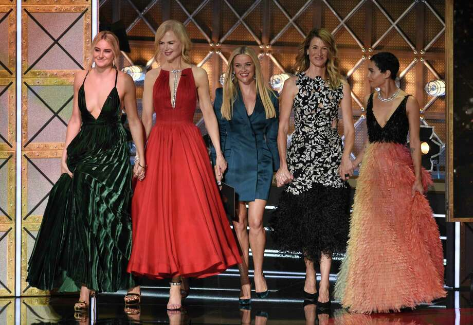 "The glamorous ""Big Little Lies"" cast -- Shailene Woodley, from left, Nicole Kidman, Reese Witherspoon, Laura Dern and Zoe Kravitz -- set the stage for the red carpet. Here's the best and worst of Emmy's fashion moments. Photo: Chris Pizzello, INVL / 2017 Invision"