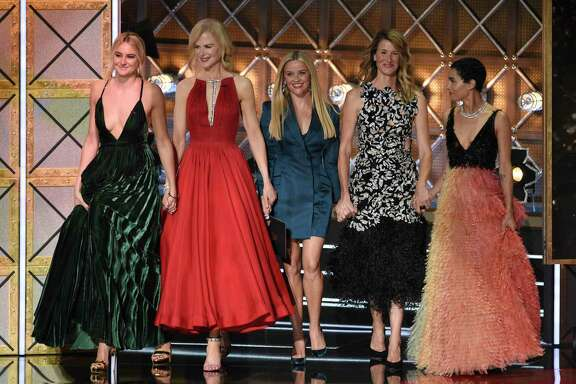 Shailene Woodley, from left, Nicole Kidman, Reese Witherspoon, Laura Dern and Zoe Kravitz present the award for outstanding supporting actress in a drama series at the 69th Primetime Emmy Awards on Sunday, Sept. 17, 2017, at the Microsoft Theater in Los Angeles. (Photo by Chris Pizzello/Invision/AP)