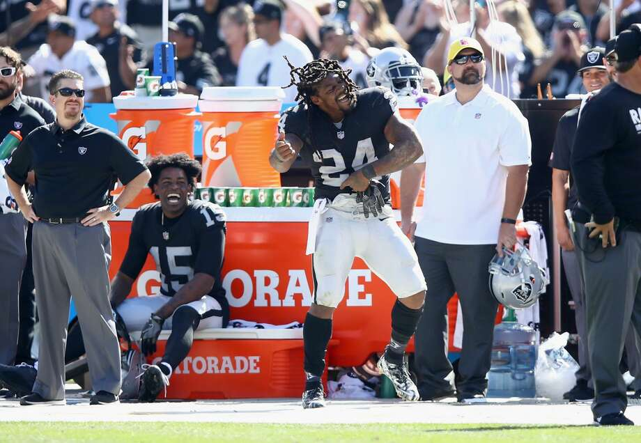 OAKLAND, CA - SEPTEMBER 17:  Marshawn Lynch #24 of the Oakland Raiders dances on the sideline during their win over the New York Jets at Oakland-Alameda County Coliseum on September 17, 2017 in Oakland, California.  (Photo by Ezra Shaw/Getty Images) Photo: Ezra Shaw/Getty Images