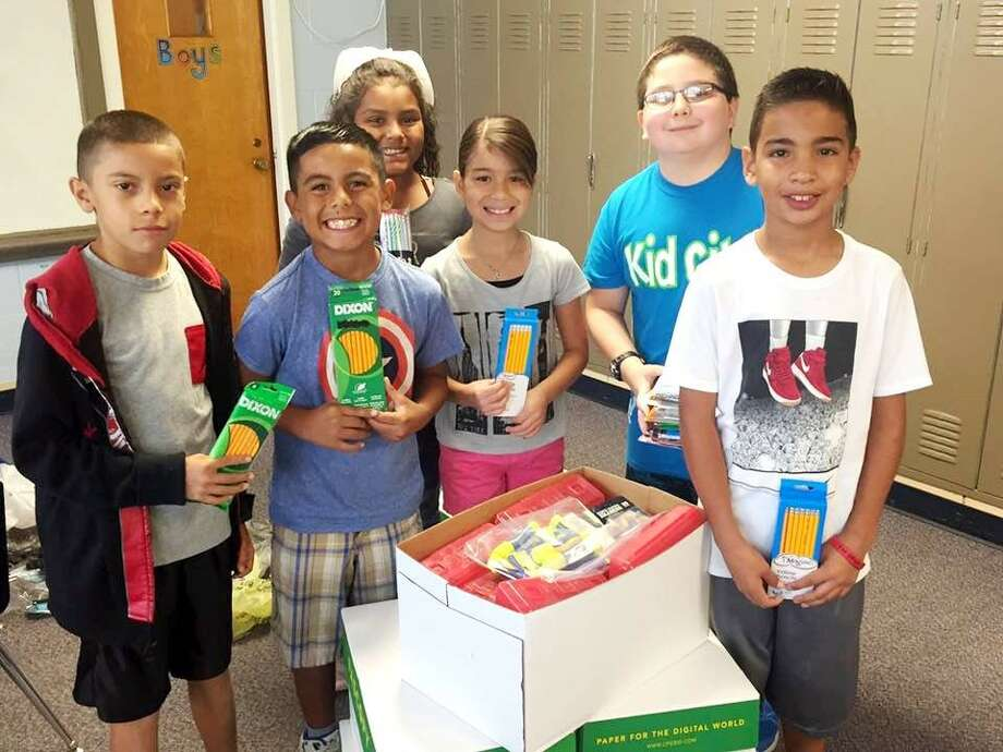 College Hill Elementary students collected seven boxes of school supplies to send to students of Stewart Elementary in Hitchcock ISD south of Houston. Many of the Stewart Elementary families were impacted by the recent hurricane and the school is working to help families get back on their feet. Both schools share the bulldog mascot. College Hill students pictured are Juan Moreno (left), Jacobi Gill, Jocelyn Flores, Jaimee Rodriguez, Joey Wright and Dameron Romero.