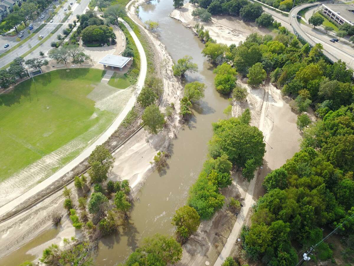 Aerial photos show the sediment that piled up on the banks of Buffalo Bayou.