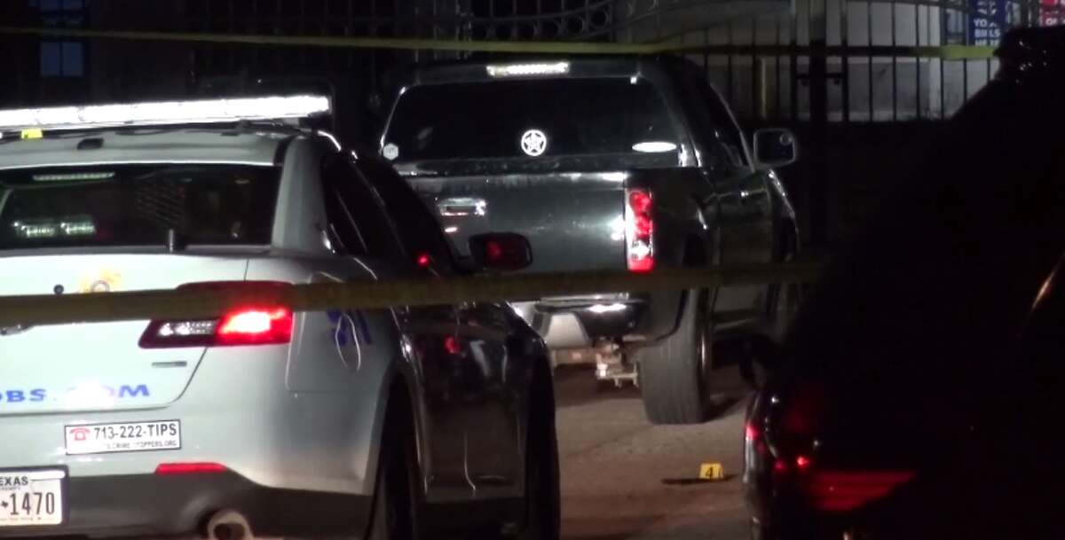 Two people were hospitalized Monday after gunfire during an armed robbery in a northwest Harris County apartment complex.