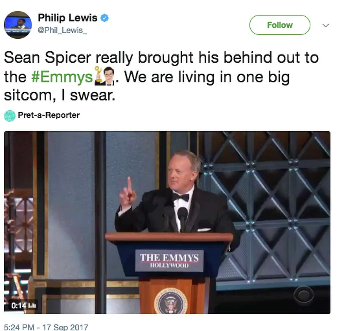 Twitter responds to Sean Spicer's surprise appearance at Sunday's 69th annual Emmy Awards.