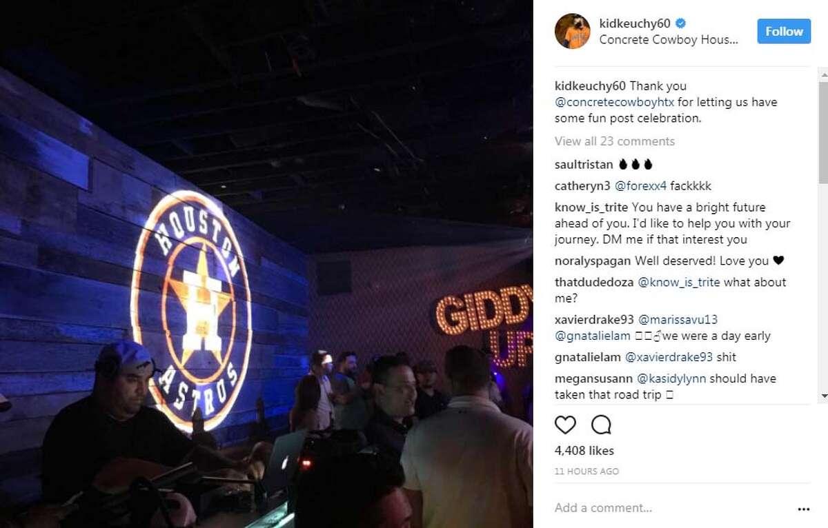 Astros starting pitcher Dallas Keuchel shared a post on Instagram of the team's postgame celebration at Houston nightclub Concrete Cowboy.