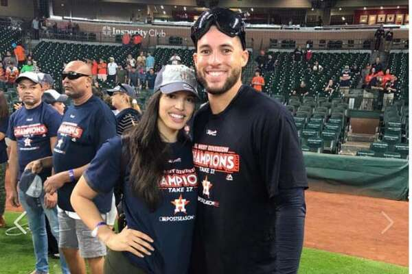 The fiancee of Astros outfielder George Springer posted a photo on the field with Springer after the postgame celebration.