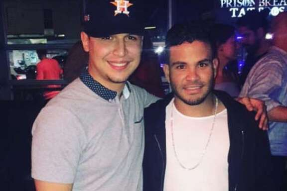 Astros fan Mike Armenta posted a photo with the Astros' Jose Altuve from the postgame celebration at Concrete Cowboy on Sunday evening.