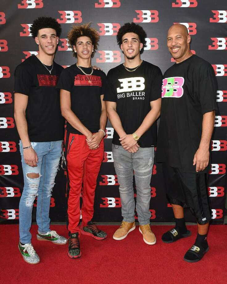 Lonzo Ball, LaMelo Ball, LiAngelo Ball and LaVar Ball attend Melo Ball's 16th Birthday on Sept. 2, 2017 in Chino, Calif. Photo: Joshua Blanchard /Getty Images