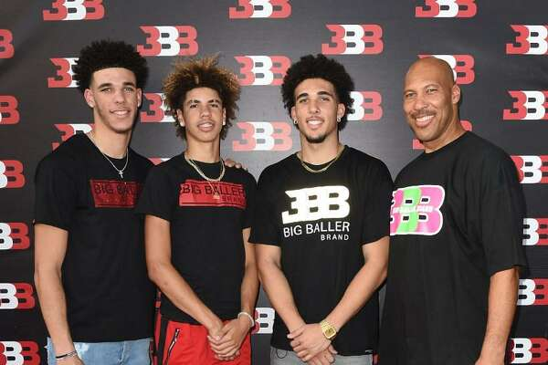 Lonzo Ball, LaMelo Ball, LiAngelo Ball and LaVar Ball attend Melo Ball's 16th Birthday on Sept. 2, 2017 in Chino, Calif.