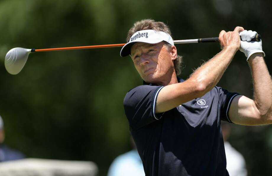Bernhard Langer tees off from the 9th tee during the first round of the Insperity Invitational on May 5, 2017 at The Woodlands Country Club Tournament Course in The Woodlands Texas. Photo: Wilf Thome /Houston Chronicle