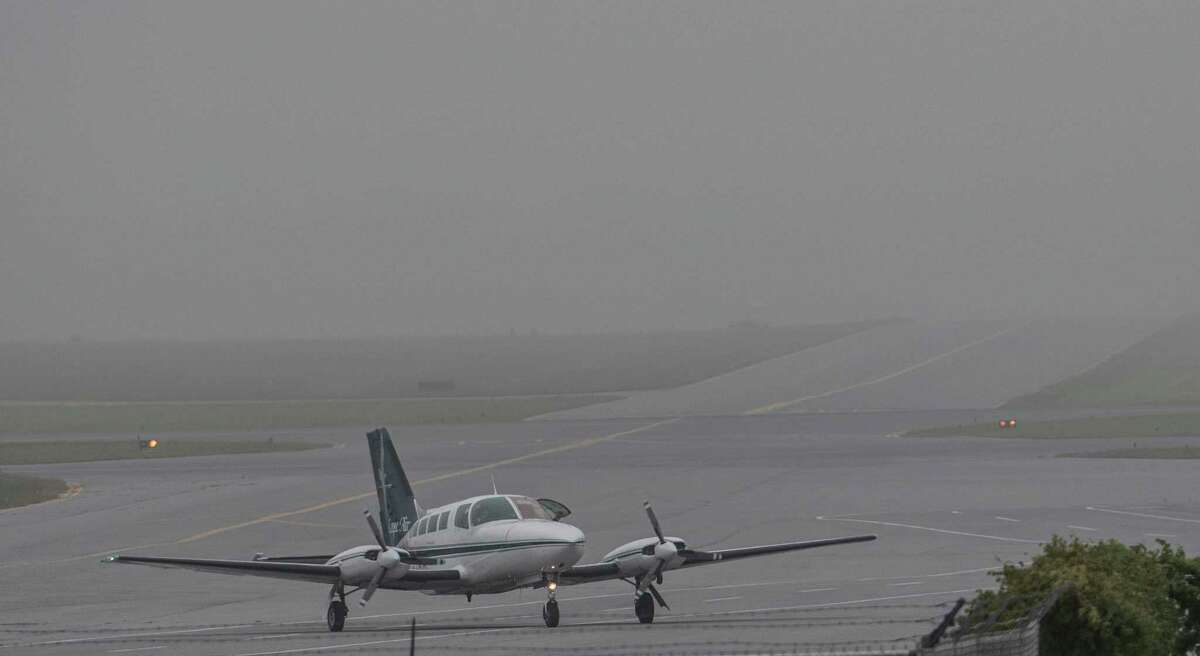 A Cape Air flight arrives in the morning fog at the Albany International Airport Monday Sept. 18, 2017 in Colonie, N.Y. (Skip Dickstein/Times Union)