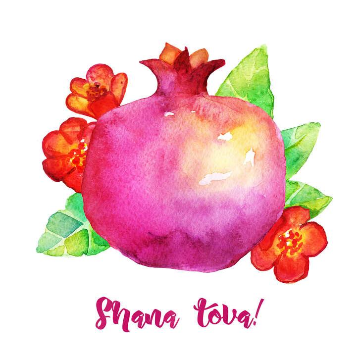 Traditional Rosh Hashanah wishes card. Watercolor Pomegranate symbol of sweet life, symbolizes fruitfulness. Jewish New Year. Greeting text Shana tova on Hebrew - Have a good year.
