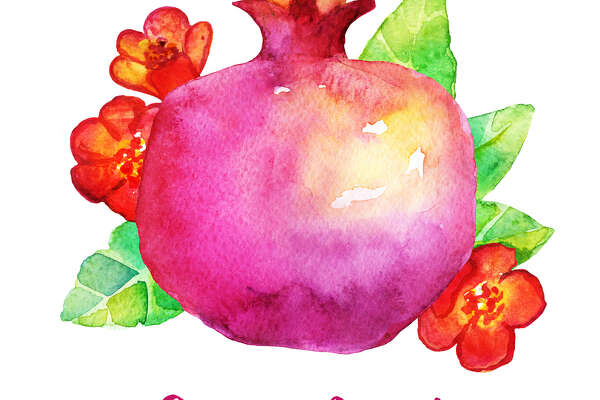 Traditional Rosh Hashanah wishes card. Watercolor Pomegranate symbol of sweet life, symbolizes fruitfulness. Jewish New Year. Greeting text Shana tova on Hebrew - Have a good year.