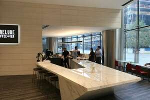 Prelude Coffee & Tea is a new coffee bar opening Sept. 19 in the lobby of 609 Main in downtown Houston from Davide Buehrer and Ecky Pabranto, who are partners in Greenway Coffee, Blacksmith, Inversion Coffee, and Morningstar Coffee & Donuts. Shown: The coffee bar.