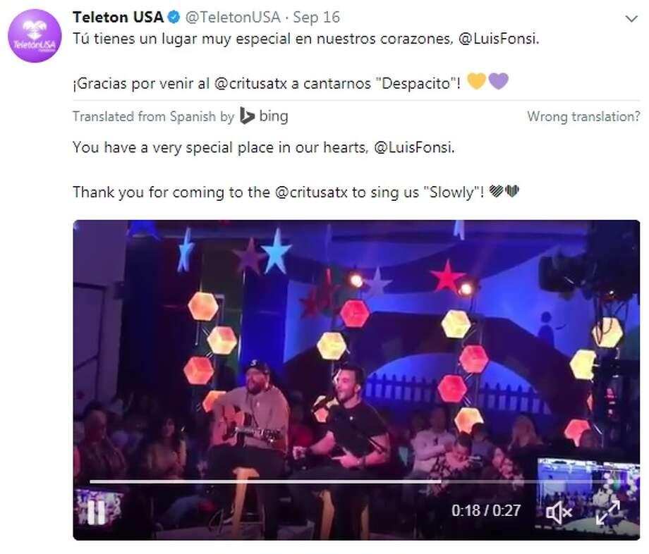 @TeletonUSA: Tú tienes un lugar muy especial en nuestros corazones, @LuisFonsi. Photo: Twitter.com, Instagram.com