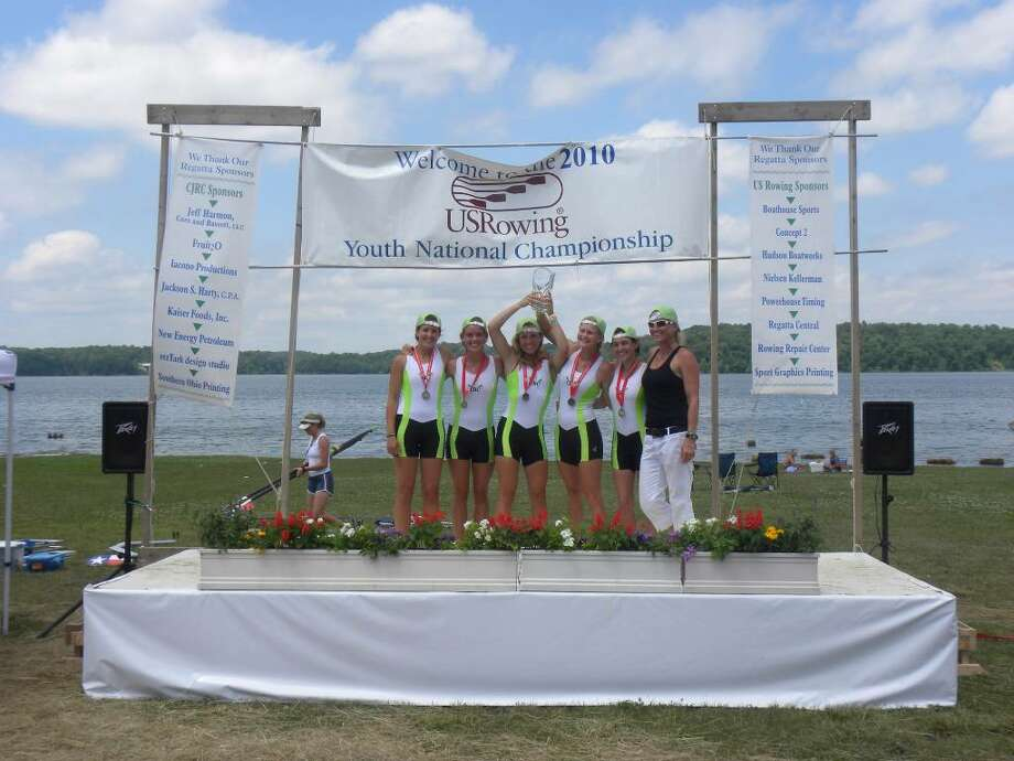 The Connecticut Boat Club set records at the National championships last weekend in the lightweight women's 4+ and women's open weight 8+ boats. Weston sophomore Ali Hornung rowed in both boats. Photo: Contributed Photo