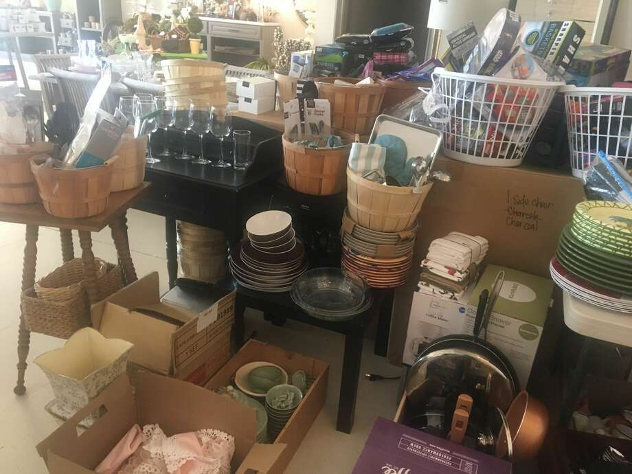 Laundry baskets filled with home items at Paisley House are ready for victims of Hurricane Harvey flooding. The home decor store's staff is gathering new and used items for flood victims. Photo: Diane Cowen / Houston Chronicle