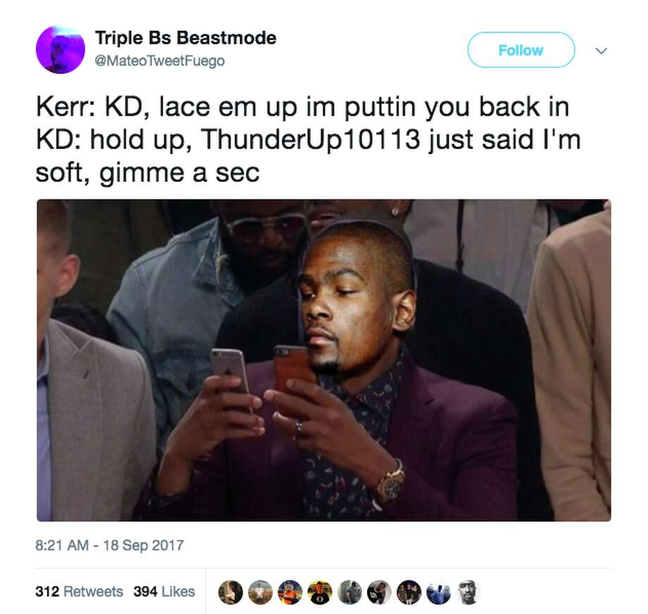 Twitter brought the jokes when the internet suspected that Kevin Durant was using a fake account to defend himself on social media. Photo: Screenshot Via Twitter