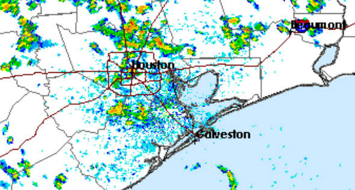 Showers swept across Houston Monday.