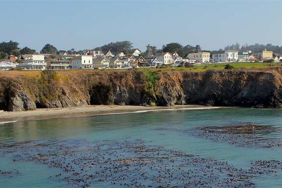 From the Marin Headlands, a panorama of the town of Mendocino, often a sunny paradise in fall