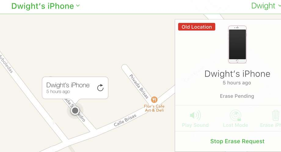 Find My iPhone shows where the device was last seen on the Internet. Photo: Dwight Silverman Screenshot