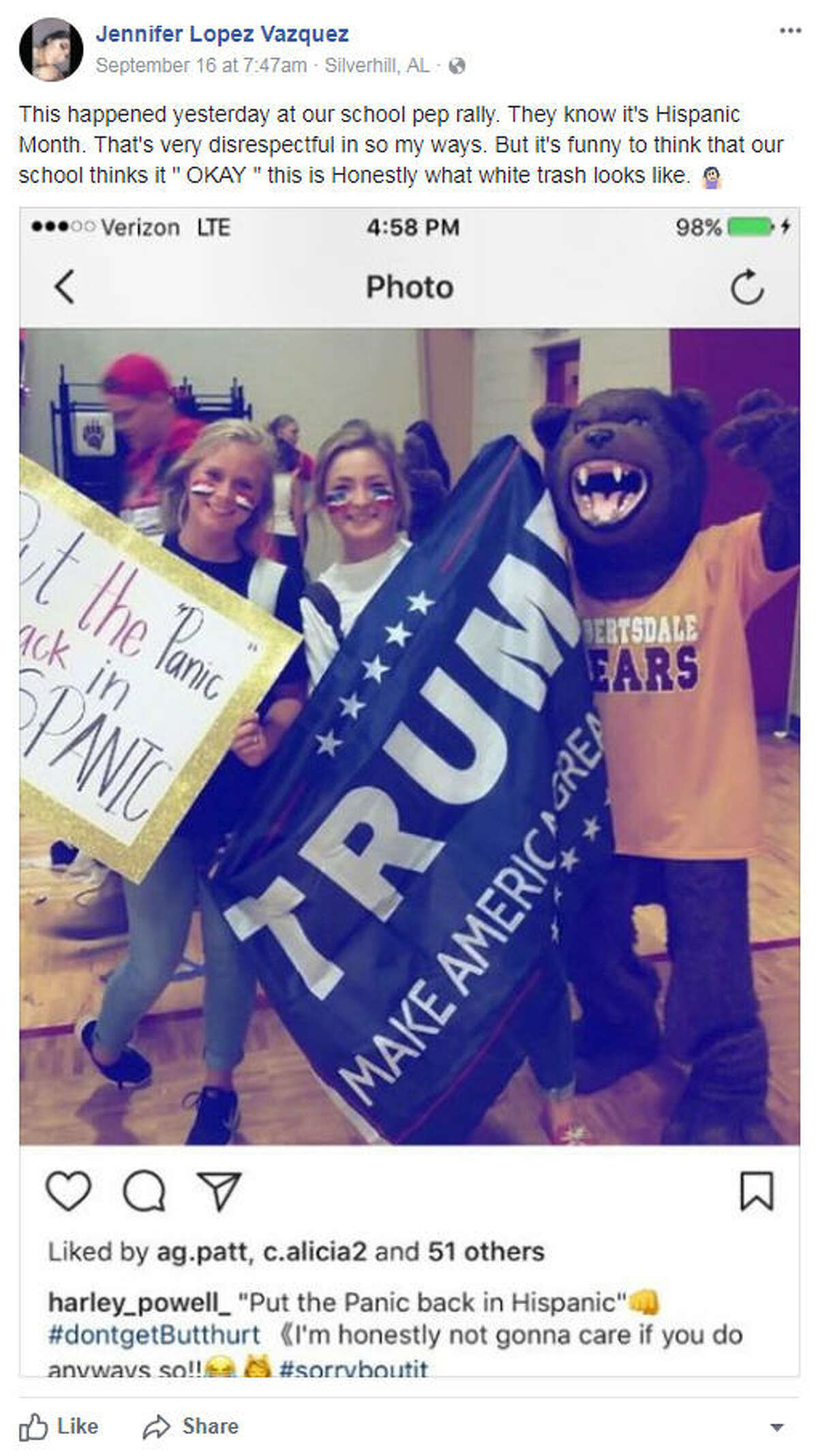 Jennifer Vazquez shared a photo that was reportedly taken at Robertsdale High School in Alabama, where a student had the sign,