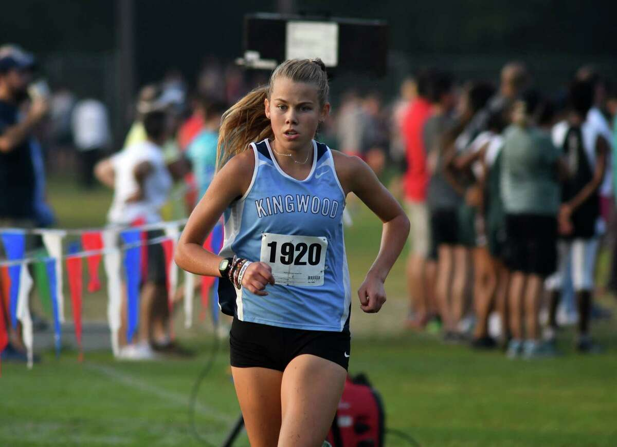 Kingwood's Megan Eichler competes in the Varsity Girls 5K race at the Andy Wells Invitational at Atascocita High School on Sept. 16, 2017. (Photo by Jerry Baker)