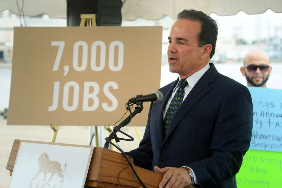 Mayor Joe Ganim speaks during the announcement of MGM Bridgeport, a new waterfront casino and entertainment complex to be built in Bridgeport, Conn. Sept. 18, 2017. Photo: Ned Gerard / Hearst Connecticut Media / Connecticut Post