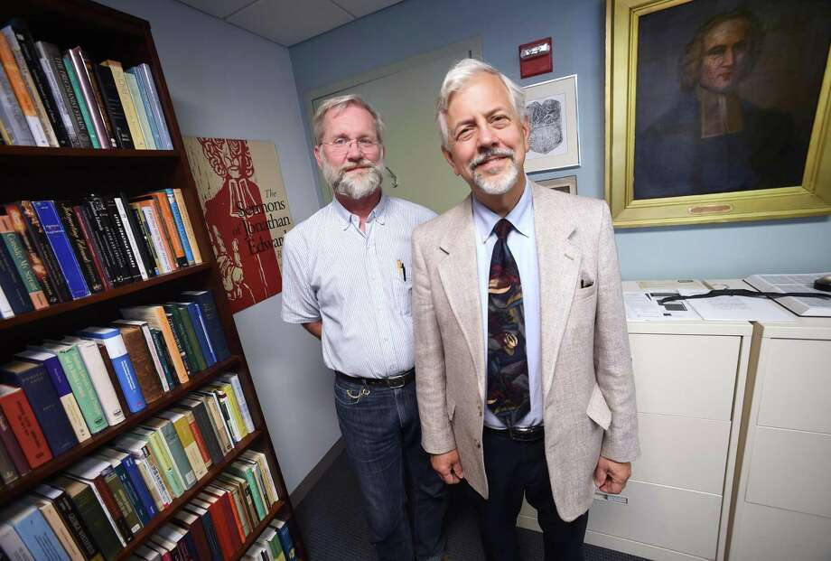 Ken Minkema (left), executive editor of the Jonathan Edwards Center & Online Archive, and Stephen Crocco, director of the Yale Divinity School Library are photographed at the Yale Divinity School in New Haven on September 12, 2017.  Arnold Gold / Hearst Connecticut Media Photo: Arnold Gold / Hearst Connecticut Media / New Haven Register