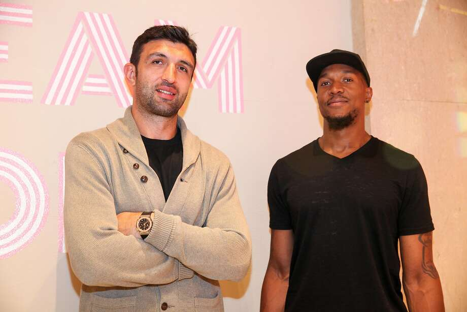 Golden State Warriors athletes Zaza Pachulia and David West pose for a photo at the Museum of Ice Cream opening party on September 15, 2017 in San Francisco, California.  (Photo by Kelly Sullivan/Getty Images for Museum of Ice Cream) Photo: Kelly Sullivan, Getty Images For Museum Of Ice C