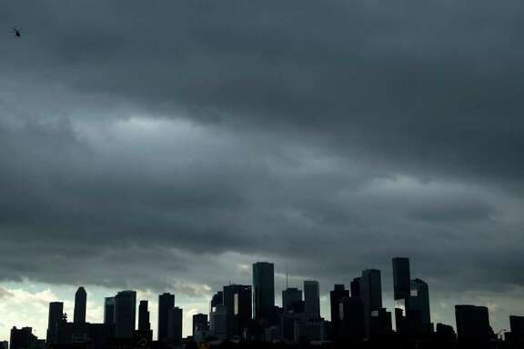 A view of the Houston skyline after heavy rains broke during the aftermath of Hurricane Harvey Aug. 29. (Brendan Smialowski/AFP/Getty Images)