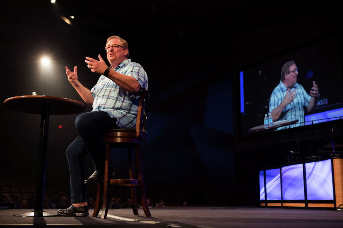 Rick Warren, pastor of Saddleback Church in Califorinia, speaks during a gathering of local pastors to encourage them in long-term Hurricane Harvey recovery efforts at First Baptist Church on Monday, Sept. 18, 2017, in Houston.