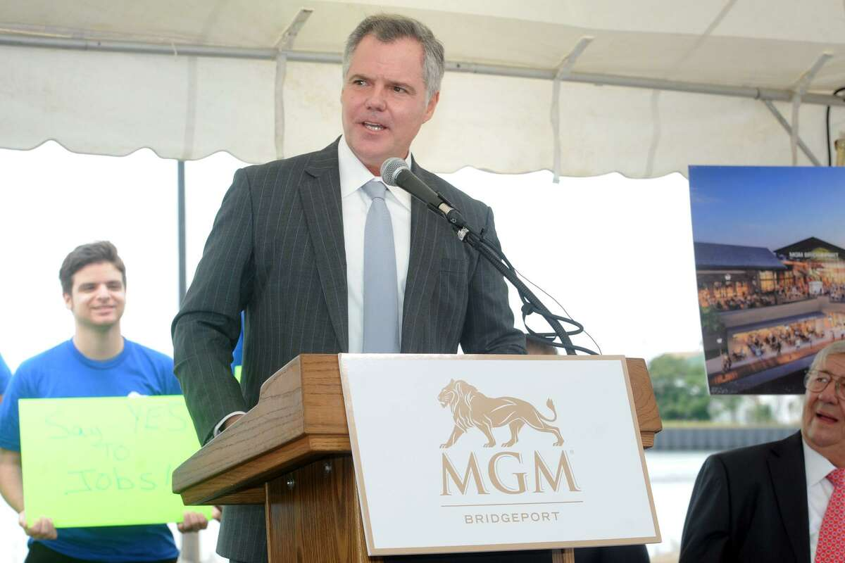 Jim Murren, chairman a of MGM Resorts International speaks at an event announcing MGM Bridgeport, a new waterfront casino and entertainment complex to be built in Bridgeport, Conn. Sept. 18, 2017.