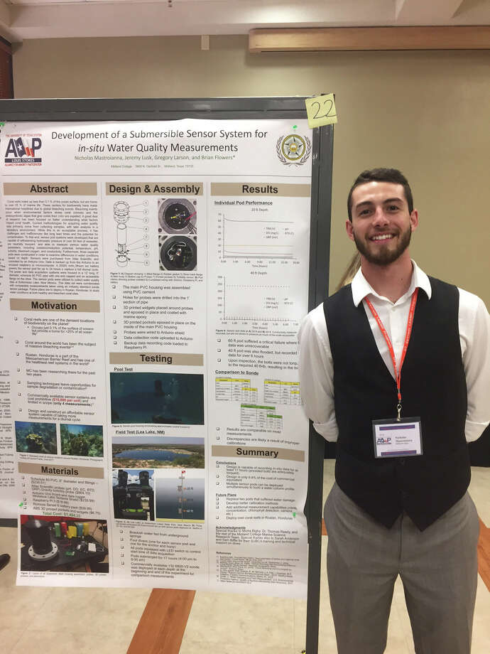 Midland College student Nicholas Mastroianna marked a milestone earlier this month when he accepted an award for his design of an underwater sensor pod to test water quality. Photo: Courtesy Photo