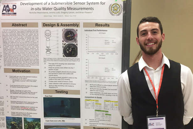 Midland College student Nicholas Mastroianna marked a milestone earlier this month when he accepted an award for his design of an underwater sensor pod to test water quality.