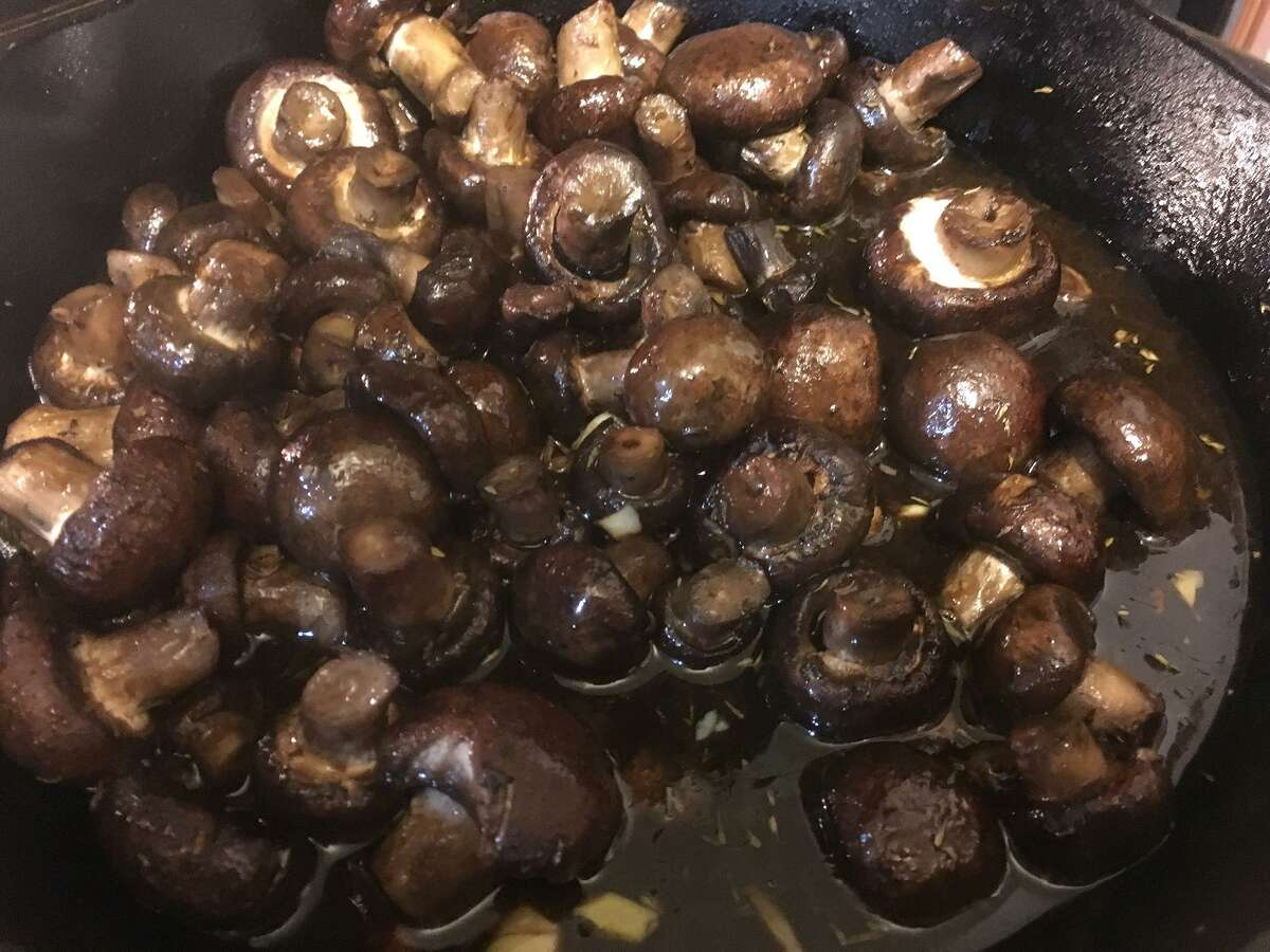 Balsamic soy roasted garlic mushrooms are a great tailgating option, because mushrooms can be stored at room temperature and can be cooked quickly on the grill.