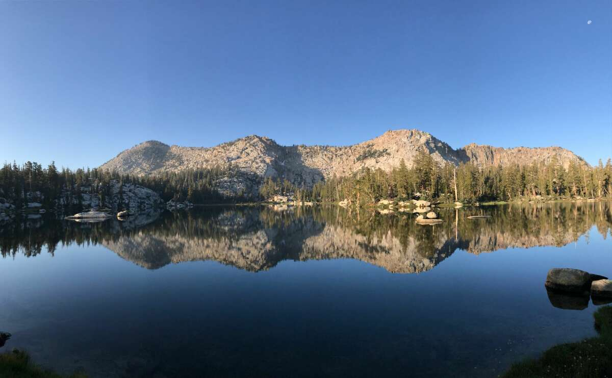 Island Lake with the Three Sisters in the Dinkey Lakes Wilderness.
