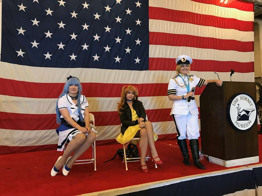Tasu (left), Steff Von Schweetz and Bekalou at the cosplay convention at the USS Hornet Museum. Photo: Beth Spotswood