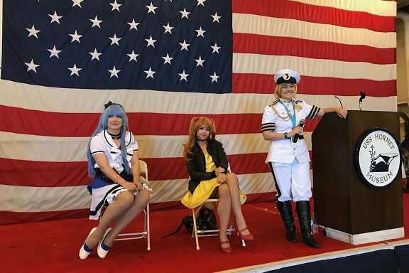 Dress-up time at the USS Hornet Museum.