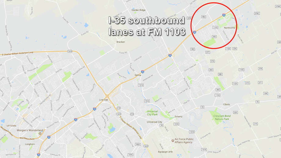 Southbound lanes of Interstate 35 near Schertz will close at FM 1103 Monday night and reopen Tuesday, according to TxDOT. Photo: Google Maps