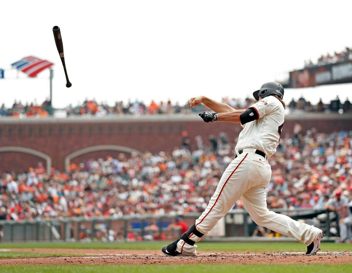 San Francisco Giants' Madison Bumgarner's bat slips out of his hands after a 2nd inning swing during 7-3 loss to St. Louis Cardinals in MLB game at AT&T Park in San Francisco, Calif., on Sunday, September 3, 2017.