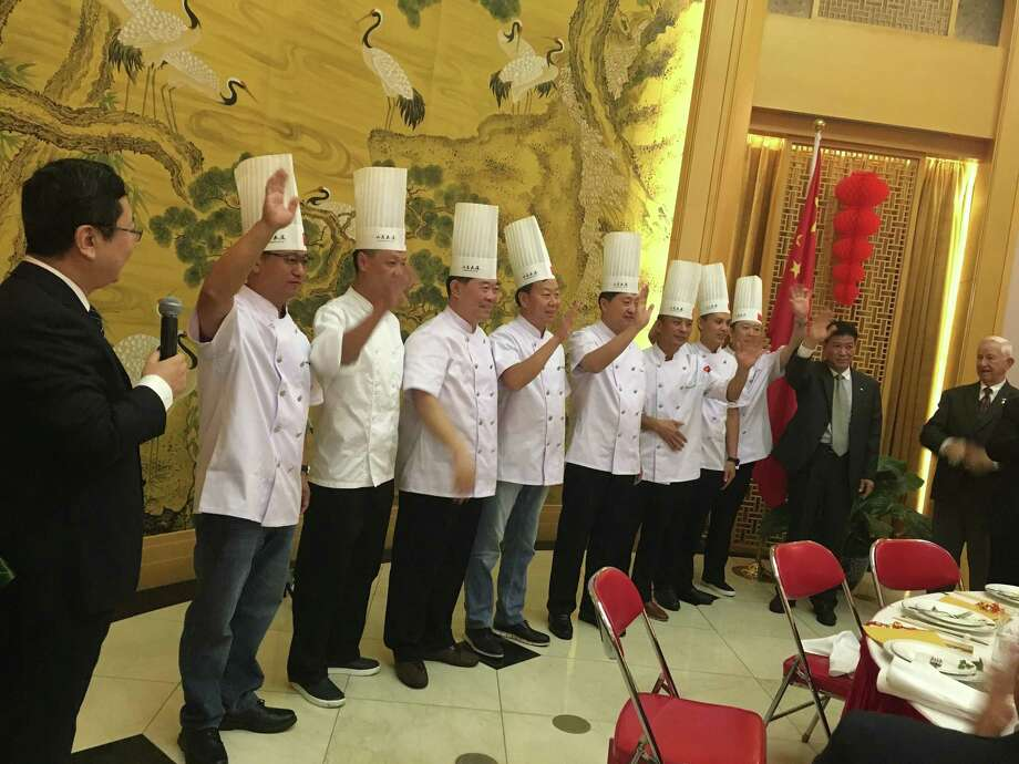 Shandong chefs take a bow during a private dinner at the consul general's residence in Houston. Photo: Alison Cook