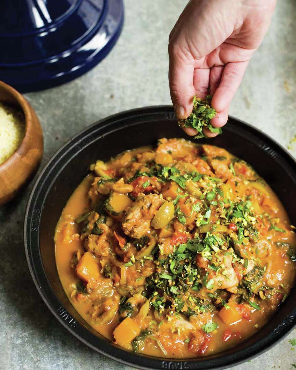 Chicken Tagine with Apricots, Butternut Squash and Spinach from