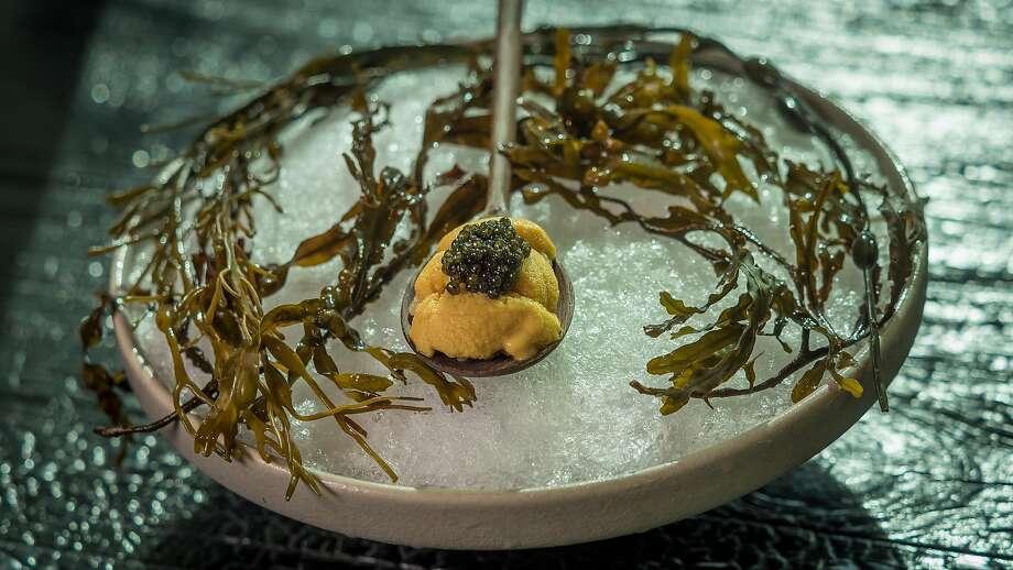At Robin: Ensui uni (saltwater processed Hokkaido sea urchin), white sturgeon caviar from Sacramento. Photo: John Storey, Special To The Chronicle