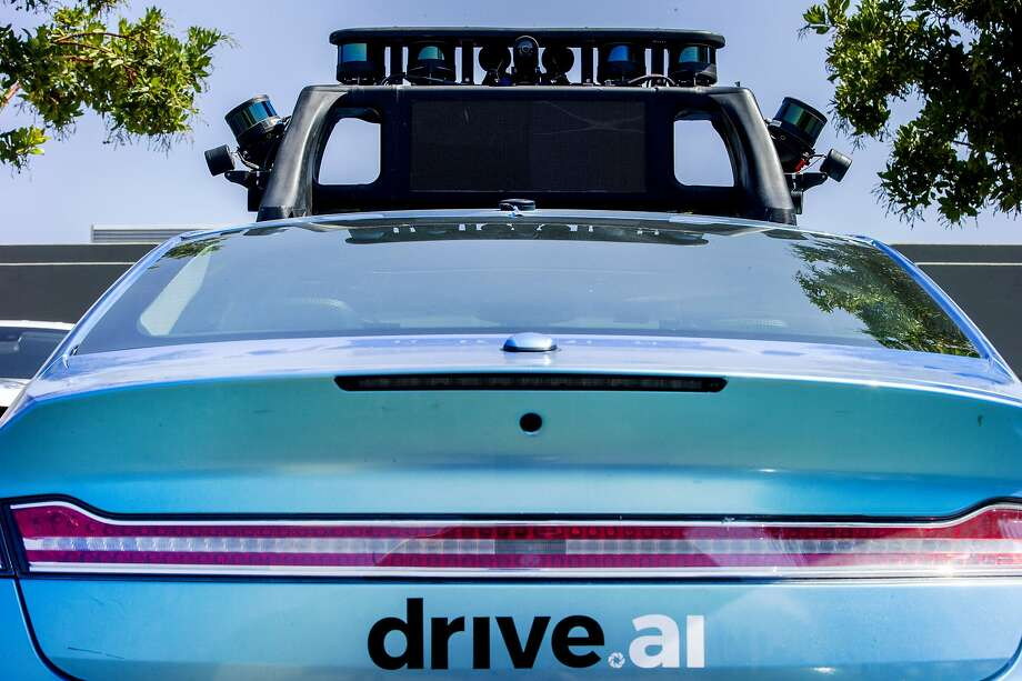 Sensors are seen on top of a self driving car by Drive.ai in Mountain View in 2017. Autonomous cars will be on the road for all of us very soon -- all the more reason for the California Legislature to require them to use clean energy right now. Photo: Santiago Mejia / The Chronicle