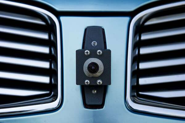 The front sensor of a self driving car by drive.ai on Wednesday, Aug. 9, 2017, in Mountain View, Calif. Drive.ai is a Silicon Valley startup that's creating artificial intelligence software for autonomous vehicles.