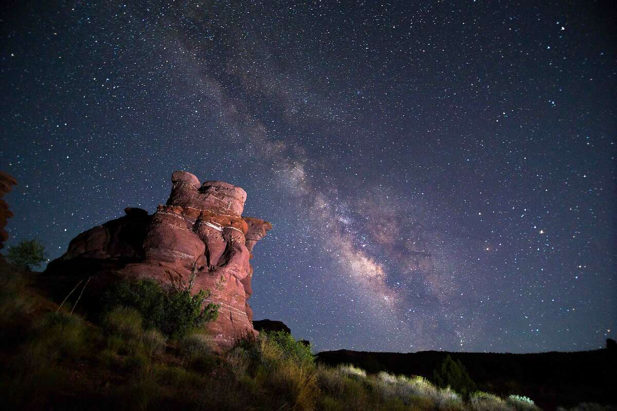 Camping under the Milky Way in Canyonlands National Park in Utah. Canyonlands has one of the darkest skies in North America.
