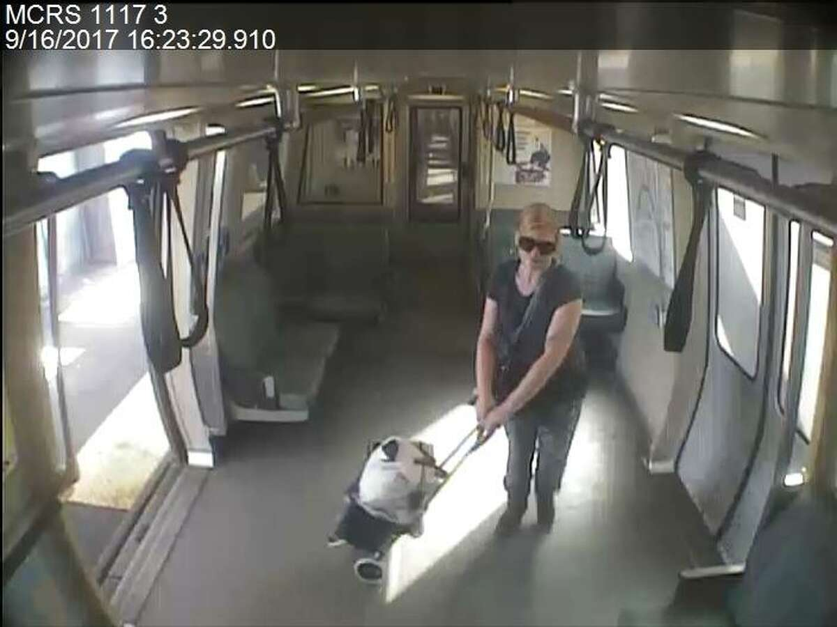 BART police released pictures of a woman suspected in an attempted robbery on a train in San Francisco on Saturday.
