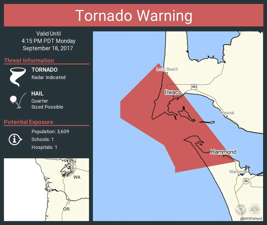 The National Weather Service released a tornado warning Monday afternoon for the mouth of the Columbia River.